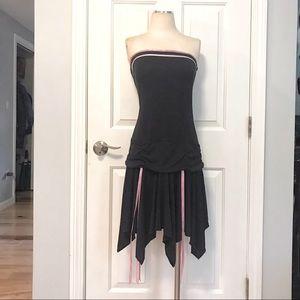 VTG Little Black Dress Drop Waist Pink Ribbon Trim